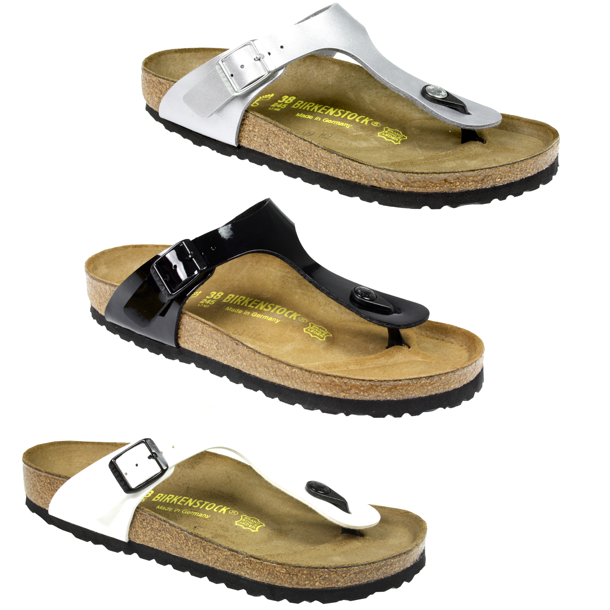 WOMENS LADIES BIRKENSTOCK GIZEH FLAT MOULDED FOOTBED SUMMER BEACH SANDALS SIZE